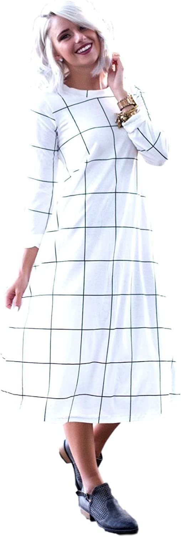 JaceyLane Window Pane Long Sleeve Swing Dress