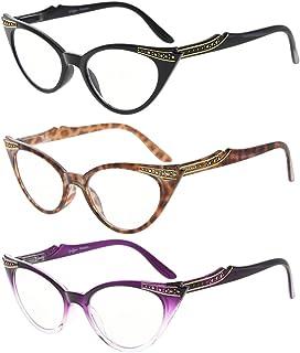 d79ed9c383 Eyekepper Mujeres 3 pares de lectura gafas de mujer Vintage cat eye Readers  (Negro/