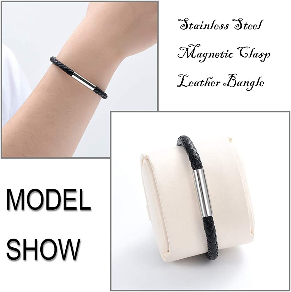 constantlife Cremation Bracelet Jewelry Keepsake Stainless Steel Magnetic Clasp Leather Bangle for Ashes Memorial Cylinder Urn