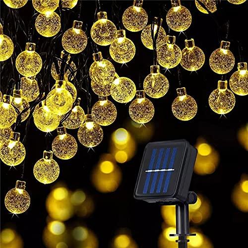 Bigzom Guirnaldas Luces Exterior Solar,  11M 60 LEDs Guirnaldas luminosas de exterior- interior 8 Modos Interior Iluminación Solar para Navidad,  Jardín,  Terraza,  Patio,  Boda