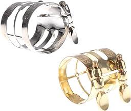 FLAMEER - Pinzas para saxofón (2 unidades, cobre, niquelado), color plateado y dorado