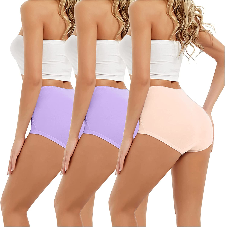 xoxing 3PC Plus Size Women's Basic Elastic Comfortable Intimates Sexy Solid Color Underwear Lingerie Sleepwear (M)
