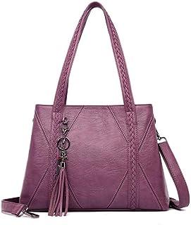 New Leather Tassel bags Large Capacity Women Shoulder Messenger Bag Handbag Big Handbags,Purple,S