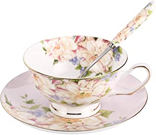 JinGlory Pink Tea Cup,Floral Tea Cup and Saucer Set with Spoon,Bone China Tea Set,Coffee Cup,Tea Set for Adults/Friends/Women/Men,7OZ