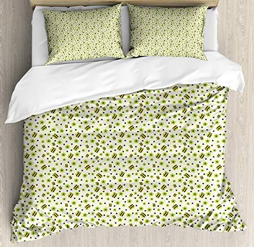Juego de funda nórdica Flowers Insects, patrón repetitivo de Happy Bees y motivos florales, juego de cama decorativo de 3 piezas con 2 fundas de almohada, verde manzana amarillo oscuro verde bosque