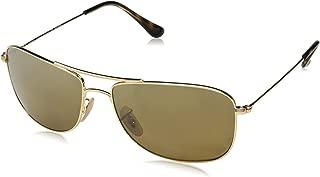RAY-BAN RB3543 Chromance Mirrored Aviator Sunglasses, Gold/Polarized Bronze Mirror, 59 mm