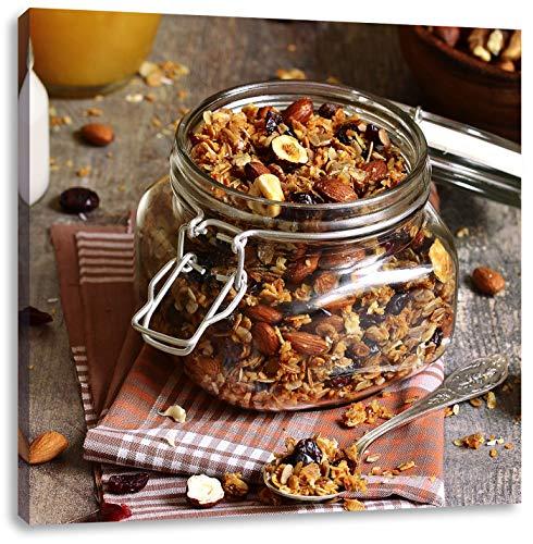 Honing granola in een kruikCanvas Foto Plein | Maat: 40x40 cm | Wanddecoraties | Kunstdruk | Volledig gemonteerd