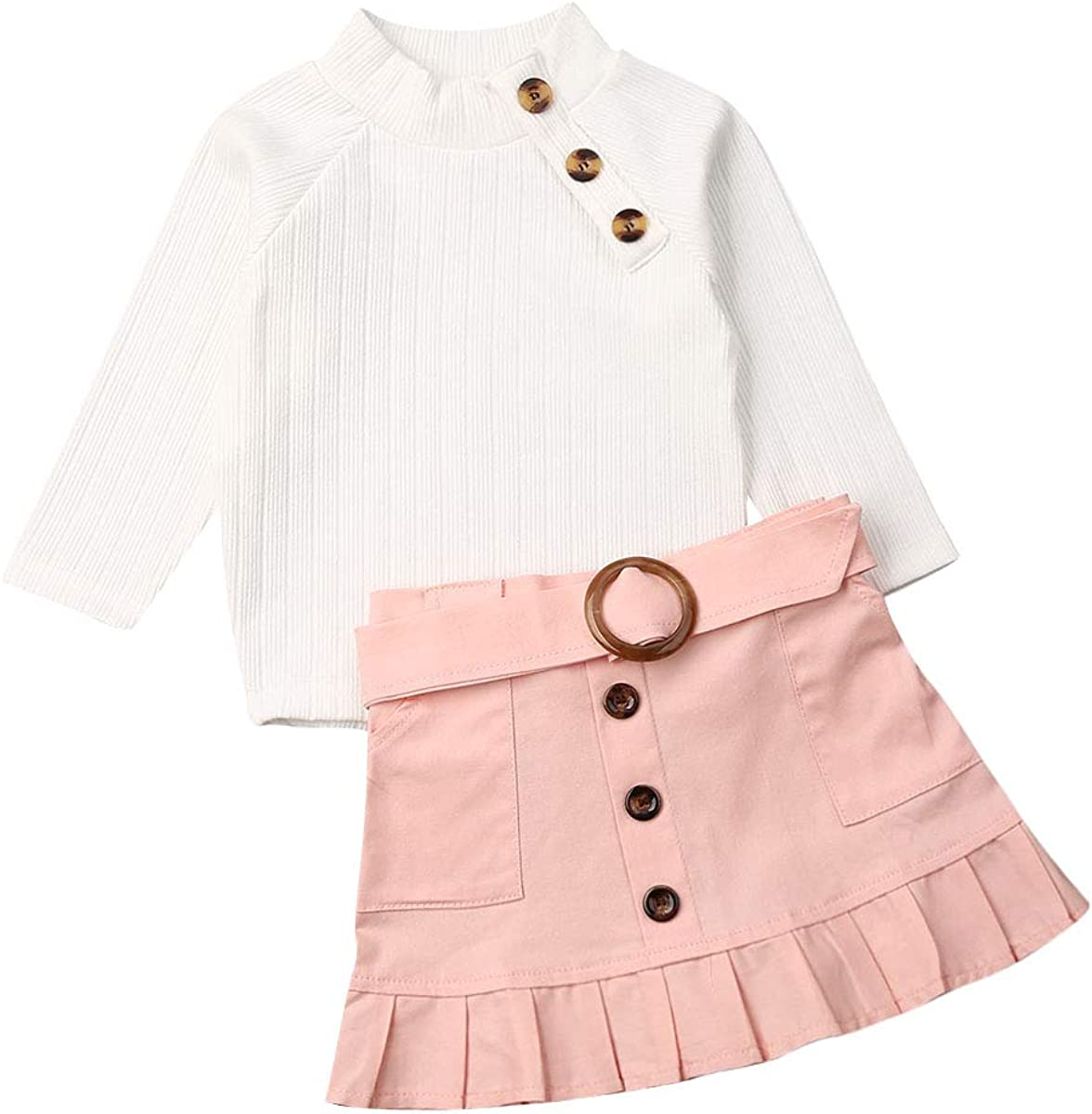 Kids Toddler Baby Girl Fall Winter Outfit Long Sleeve Pompom Knitted Shirt Sweater Top Button Skirt 2PCS Clothes Set