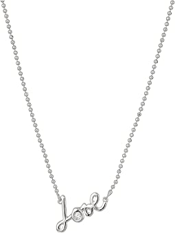 Blue by Betsey Johnson Silver Tone Delicate Necklace Chain and 'Love' Pendant with CZ Stone Accent