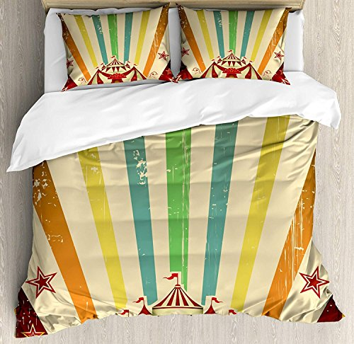 Vintage Rainbow Duvet Cover Set, Old Circus Carnival Advertisement Theme Stripes Stars and Fun Fair Tent, Decorative 3 Piece Bedding Set with 2 Pillow Shams, Multicolor