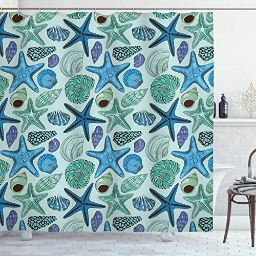Ambesonne Starfish Shower Curtain, Aquarium Inspired Composition Tropical Seashells and Scallops Cockles and Clams, Cloth Fabric Bathroom Decor Set with Hooks, 70' Long, Blue Seafoam