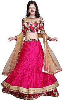 e42124ae59 Drashti villa Women's Pink Colur Taffeta Silk Semi Stitched lehenga choli  With Blouse Piece (Free