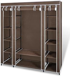 Furnituredeals Armoire de Rangement pour Bureau Armoire Penderie en Tissu 45 x 150 x 176cm Meuble Rangement Brun Armoire d...