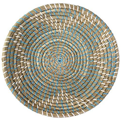 Made Terra Ciotola per cesto di frutta intrecciata naturale | Appeso a mano Seagrass decorativo ciotola Chic rustico Boho Decor appeso a parete | Great Housewarming Gift (Teal Square)