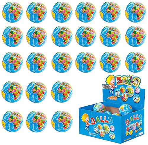 Liberty Imports 24 Pack - Mini Globe Planet Earth Soft Foam Stress Ball Toy Bulk Educational Novelties for Kids, School, Classroom, Party Favors - (2.5 inches Inches)