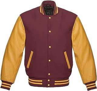 Letterman Baseball Varsity Jacket Gold Leather Sleeves