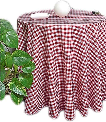 Pflegeleichte Tafeldecke Decke Unterdecke Rot Weiß Karierte Gartendecke Küchendecke Landhaus (Tischdecke rund 130 cm Durchmesser)