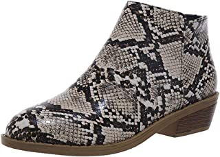 Womens Ankle Boots Low Stacked Heel Snakeskin Round Toe Slip on Winter Western Booties Retro Causal Shoes - Limsea