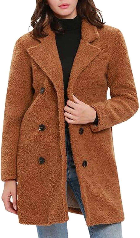 TymhgtCA Womens Winter Fluffy Fleece Warm Double Breasted Jacket Coat Outerwear