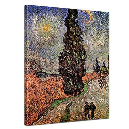 Wandbild Vincent Van Gogh Zypressenweg unter dem Sternenhimmel - 30x40cm hochkant - Alte Meister Berühmte Gemälde Leinwandbild Kunstdruck Bild auf Leinwand