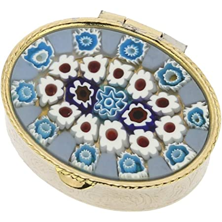 Amazon Com Glassofvenice Murano Glass Small Millefiori Pill Box Oval Health Personal Care
