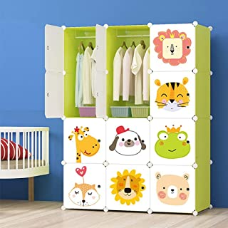 KriShyam® Plastic Wardrobe Cupboard ALMIRAH Cartoon Door Plate/Polypropylene Plastic Sheet/Kids Wardrobe/Kids Plastic wardrobe140 x 110 x 36cm (Green)