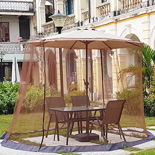 【Upgrade】 7.5-11ft Outdoor Patio Table Umbrella Mosquito Netting, Double Zipper Doors, Universal Canopy Umbrella Net Cantilever Offset Hanging Market Umbrellas w/Tilt Screen, Balcony Umbrella Cover