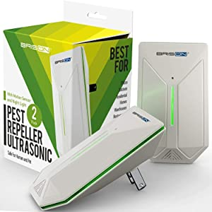 BRISON Ultrasonic Pest Repeller - Easy & Humane Way to Reject Rodents Ants Cockroaches Beds Bugs Mosquitos Fly Spiders Rats 2 Pack