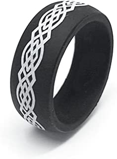 GiftsWithThought 9MM Men or Ladies Flexible Silicon Rubber Celtic Knot Design Wedding Band Ring