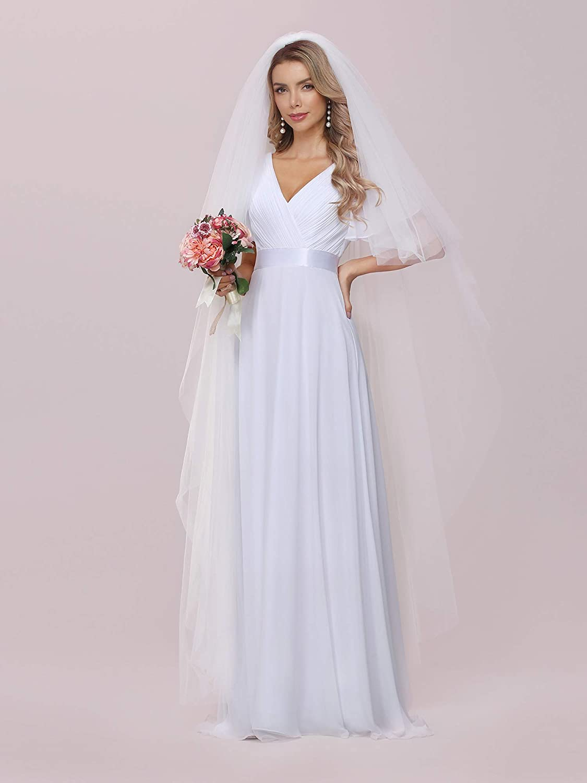Ever-Pretty Damen Frau V Ausschnitt Kurze /Ärmel A-Linie Chiffon Hochzeit Brautkleider Lang Wei/ß 09890EH