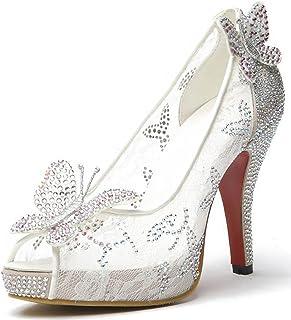 Littleboutique Lace Wedding Pumps Crystal Bridal High Heels Rhinestone Evening Party Dress Pump