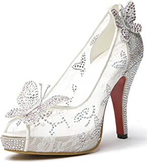 Littleboutique Women Lace Wedding Pumps Crystals Bridal High Heels Rhinestone Evening Party Dress Pump