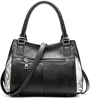 Songlin@yuan Women's Crossbody New Fashion Simple Multifunction Large Capacity Shoulder Bag Shoulder Bag Leather Tote Size:29 * 10 * 21cm (Color : Black)