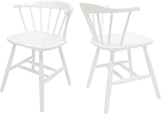 Christopher Knight Home Mia Farmhouse Spindle Back Rubberwood Dining Chairs (Set of 2), White