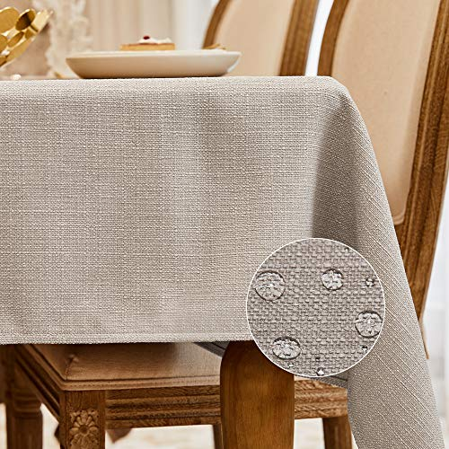 Balcony&Falcon Tischdecke Leinenoptik tischdecke abwaschbar Tischtuch Leinen Tischläufer Tischwäsche Eckig Wasserdicht Tischdecke Beige 140 x180