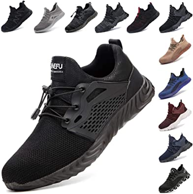 Safety Shoes for Men Steel Toe Cap Trainers Womens Lightweight Work Boots Mesh Breathable Sneakers Black Blue Grey Green Pink Size 3.5-13 UK Construction Industrial (36-48 EU)