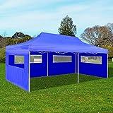 SENLUOWX - Tienda de campaña plegable con acero recubierto de polvo (3 x 6 m), color azul