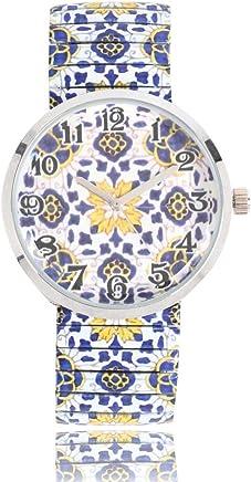 [PANPOX] 腕時計 スパニッシュタイルアート(ネイビー)レディース(Lサイズ) 大きめ ゴムのように伸びる ジャバラバンド
