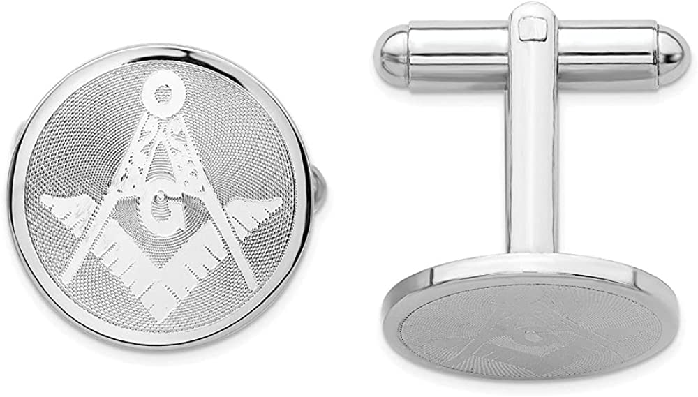 Diamond2Deal Rhodium-Plated Kelly Waters Masonic Cuff Link for Mens (Length : 16 mm; Width :16 mm)