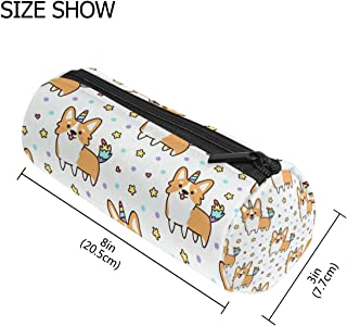 Cute Unicorn Corgi Student Pencil Pen Holder Case Bag Pouch Round Storage Pouch Stationery Bag Creative Cosmetic Makeup Bag Gift Office School Supplies for College Girl Adult