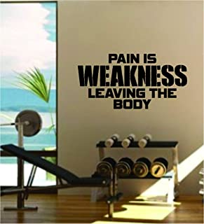 Decals Vinyl Stickers Pain is Weakness Leaving The Body Quote Fitness Health Work Out Gym Decal Sticker Wall Vinyl Art Wall Room Decor Weights Motivation Fast Delivery Made in USA