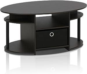 Furinno 15079WNBK Jaya Simple Design Oval Coffee Table with Bin, Walnut