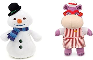"Disney Junior Jr Doc McStuffins 8 1/4"" CHILLY Beanbag Snowman and 8'' Hallie Hippo Bean Bag Plush Doll"