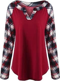 Rosegal Women's Plus Size Casual Split V Neck Raglan Sleeve Plaid Tunic Tops