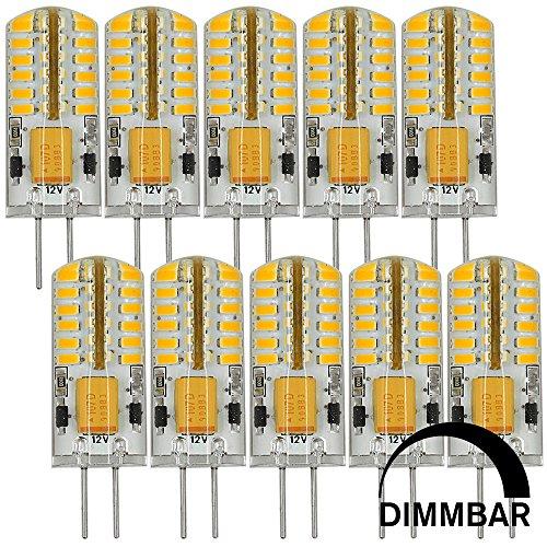 MENGS 10 Stück Dimmbar G4 LED Lampe 3W DC 12V Warmweiß 3000K 48x3014 SMD