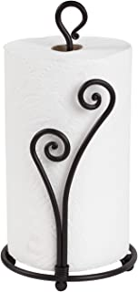 Decorative Heart Shaped Paper Towel Stand Up Holder | Black Stylish Authentic Wrought Iron | Fancy Rod Metal Countertop | Unique & Comfy | Easy One-Handed Tear | Handmade Crafted By RTZEN-Décor