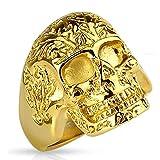 Bungsa® 67 (21.3) Goldener Totenkopf Ring verziert massiv Edelstahl Männer Skull 60 62 64 67 70 72 (Herren Fingerring Männerring Edelstahlring Chirurgenstahl Biker Outlaw MC Harley SOA)