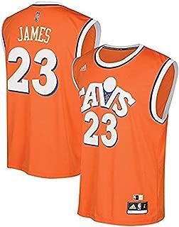 Lebron James Cleveland Cavaliers Replica Orange Throwback Mens Screen Print Jersey