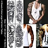 Oottati 4 Sheets Full Arm Extra large Fake Sleeves Removeable Temporary Tattoo Stickers Body Art Halloween Cross Skull Ghost Mechanical Arm Goddness Snake Indian Totem Trible Rose For Adults