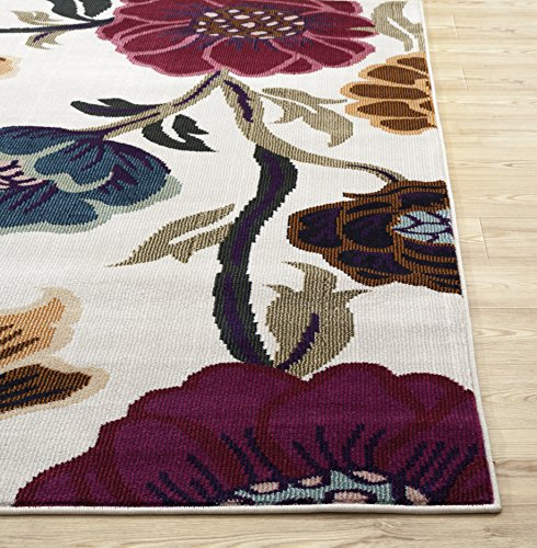 Rugshop Modern Transitional Leaves Area Rug, 2′ x 3′, Cream
